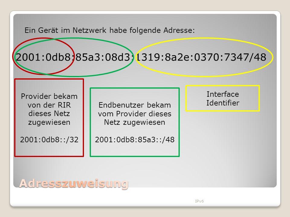 Adresszuweisung 2001:0db8:85a3:08d3:1319:8a2e:0370:7347/48