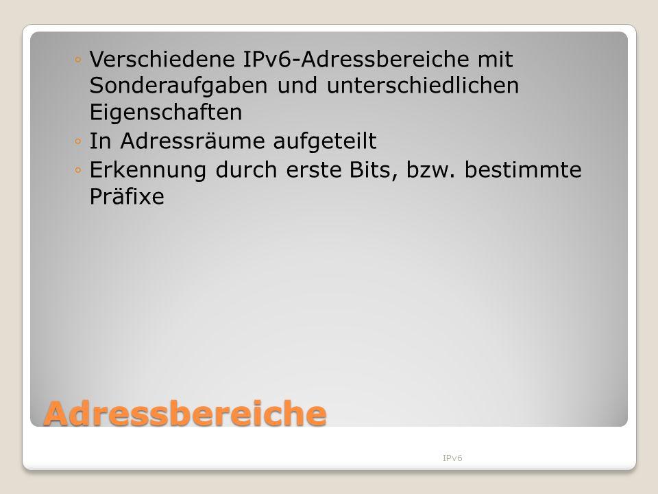 Verschiedene IPv6-Adressbereiche mit Sonderaufgaben und unterschiedlichen Eigenschaften