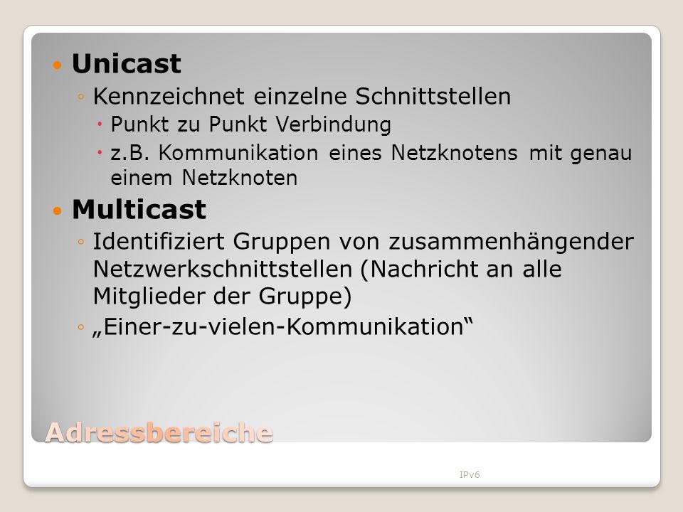 Unicast Multicast Adressbereiche Kennzeichnet einzelne Schnittstellen