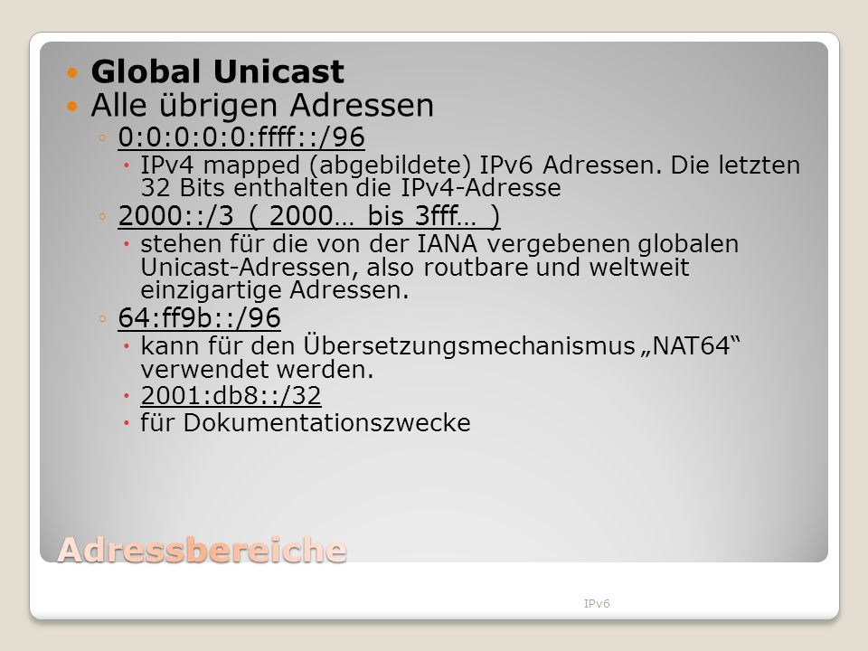 Adressbereiche Global Unicast Alle übrigen Adressen