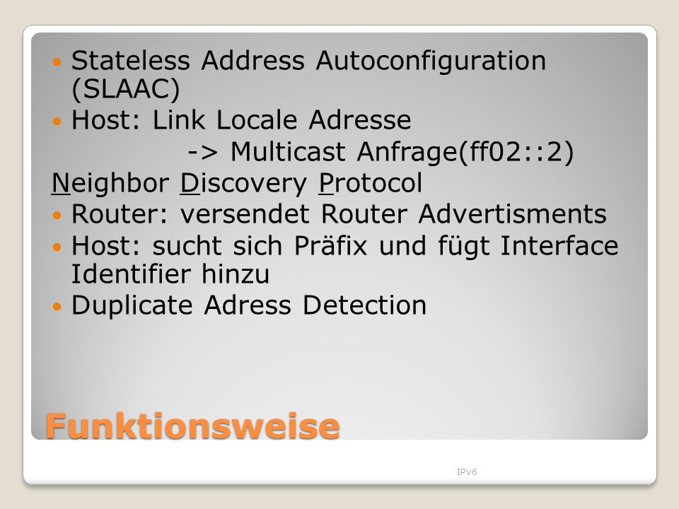 Funktionsweise Stateless Address Autoconfiguration (SLAAC)