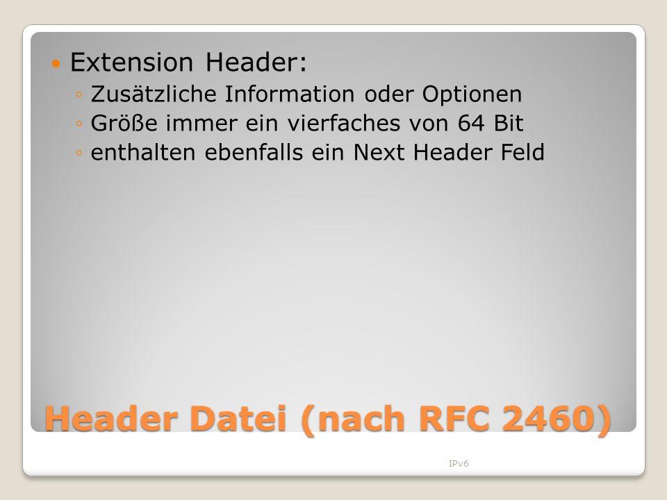 Header Datei (nach RFC 2460)