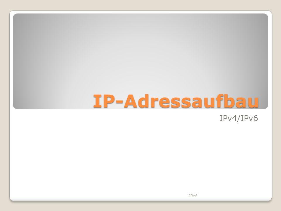 IP-Adressaufbau IPv4/IPv6 IPv6