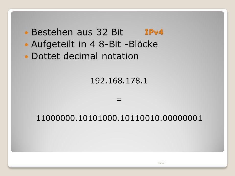 Aufgeteilt in 4 8-Bit -Blöcke Dottet decimal notation