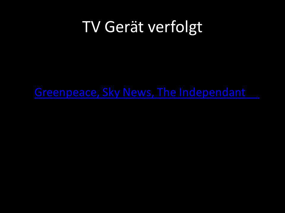 TV Gerät verfolgt Greenpeace, Sky News, The Independant