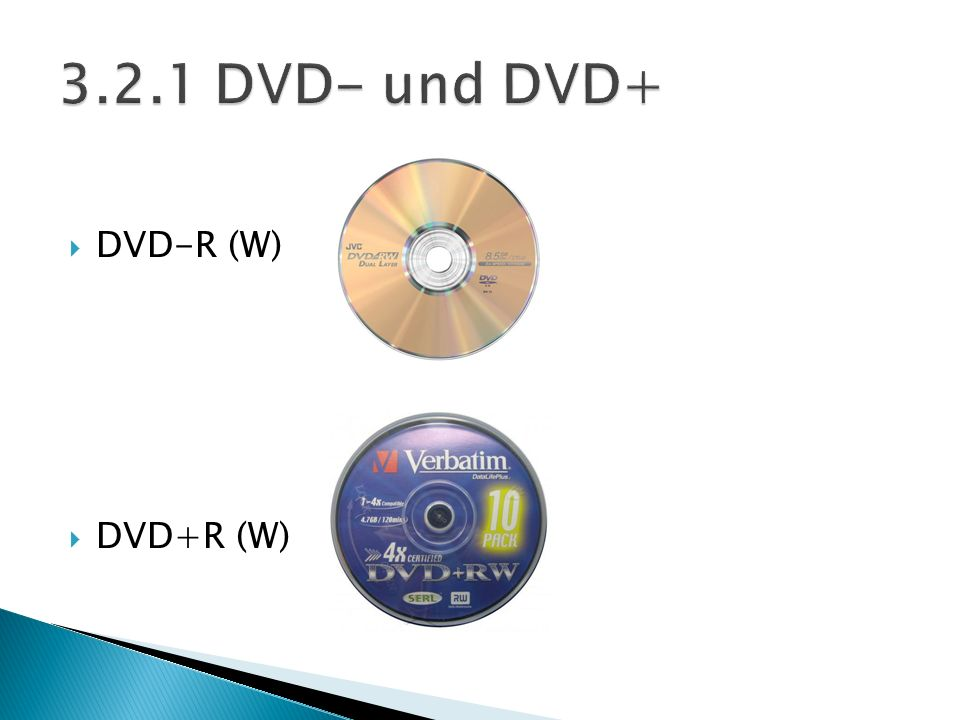 3.2.1 DVD- und DVD+ DVD-R (W) DVD+R (W)