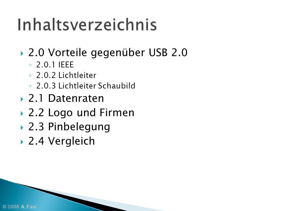 Inhaltsverzeichnis 2.0 Vorteile gegenüber USB 2.0 2.1 Datenraten