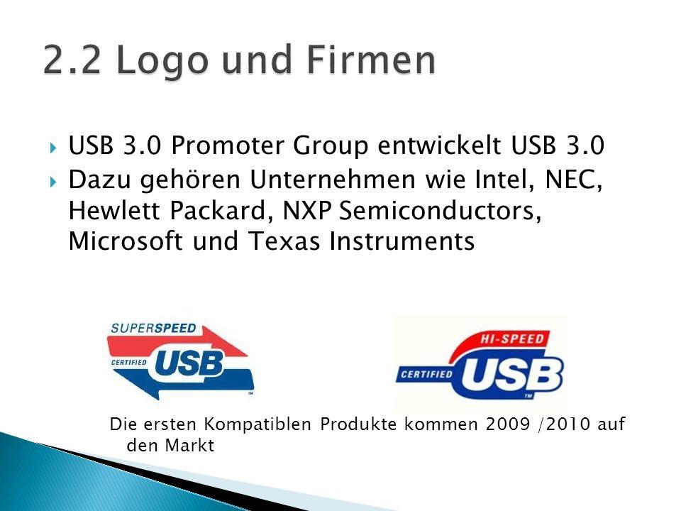 2.2 Logo und Firmen USB 3.0 Promoter Group entwickelt USB 3.0
