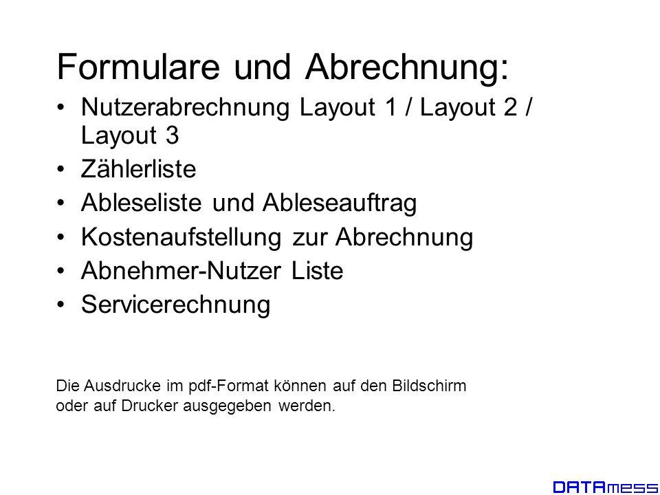 Formulare und Abrechnung:
