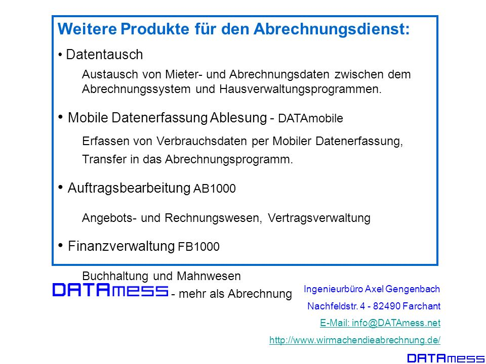 Weitere Produkte für den Abrechnungsdienst: