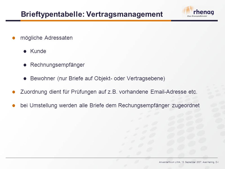 Brieftypentabelle: Vertragsmanagement