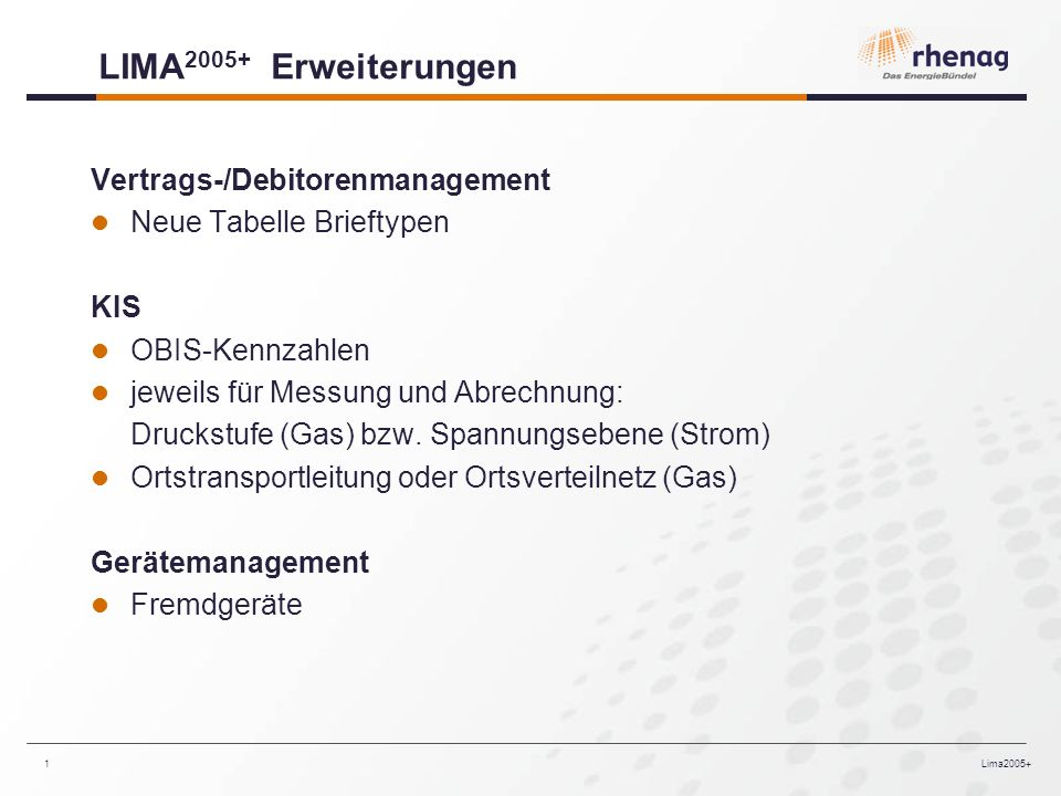 LIMA2005+ Erweiterungen Vertrags-/Debitorenmanagement
