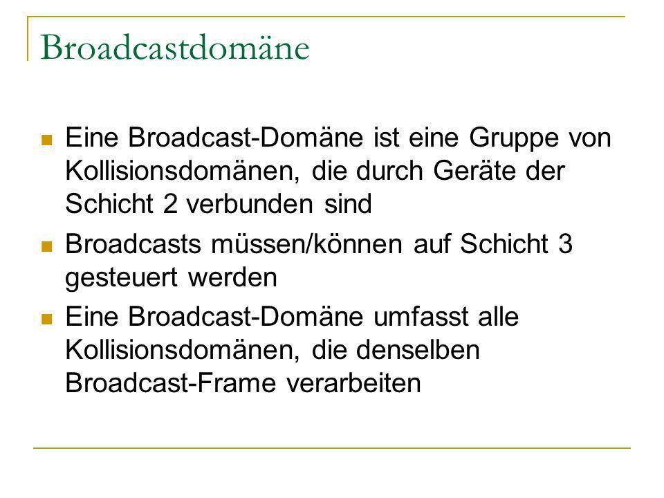 Broadcastdomäne Eine Broadcast-Domäne ist eine Gruppe von Kollisionsdomänen, die durch Geräte der Schicht 2 verbunden sind.