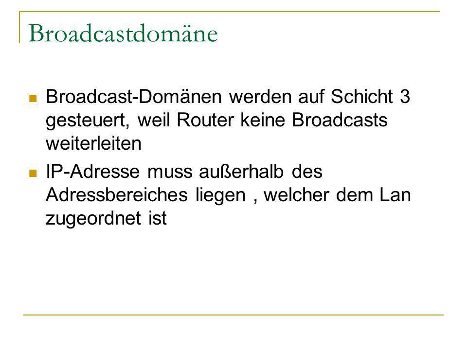 Broadcastdomäne Broadcast-Domänen werden auf Schicht 3 gesteuert, weil Router keine Broadcasts weiterleiten.