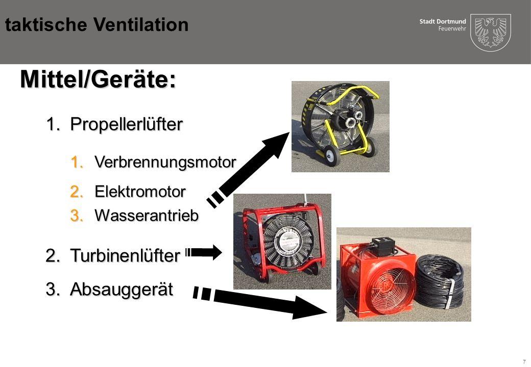 Mittel/Geräte: taktische Ventilation Propellerlüfter Turbinenlüfter