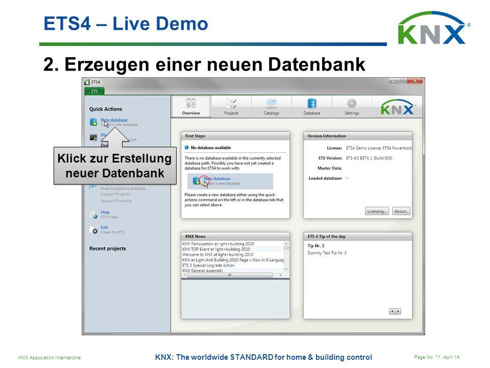 Klick zur Erstellung neuer Datenbank