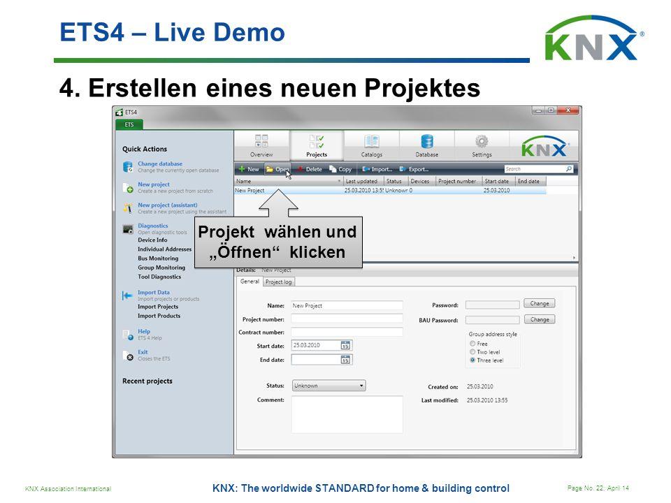 """Projekt wählen und """"Öffnen klicken"""