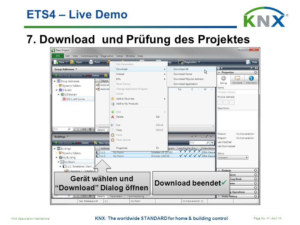 Gerät wählen und Download Dialog öffnen