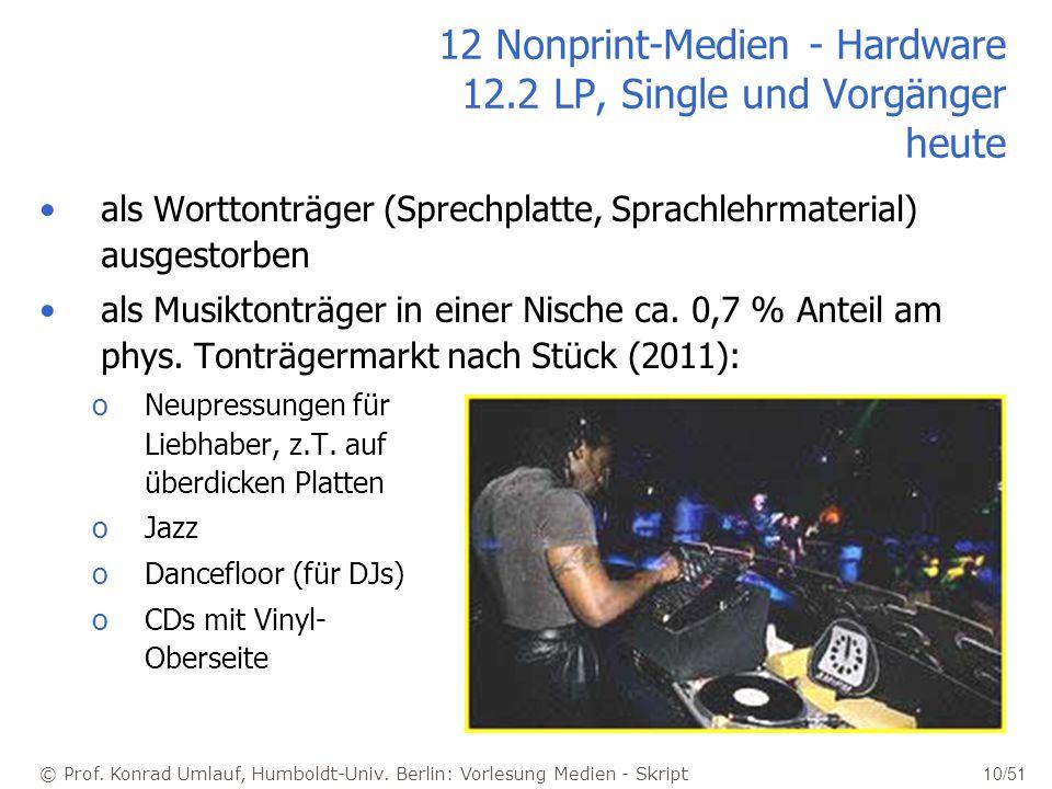 12 Nonprint-Medien - Hardware 12.2 LP, Single und Vorgänger heute