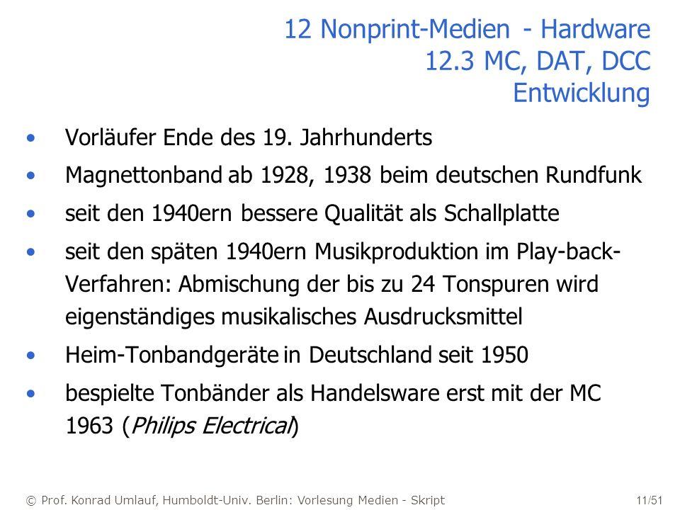 12 Nonprint-Medien - Hardware 12.3 MC, DAT, DCC Entwicklung