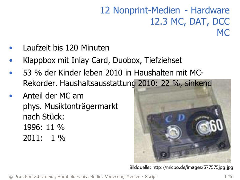 12 Nonprint-Medien - Hardware 12.3 MC, DAT, DCC MC