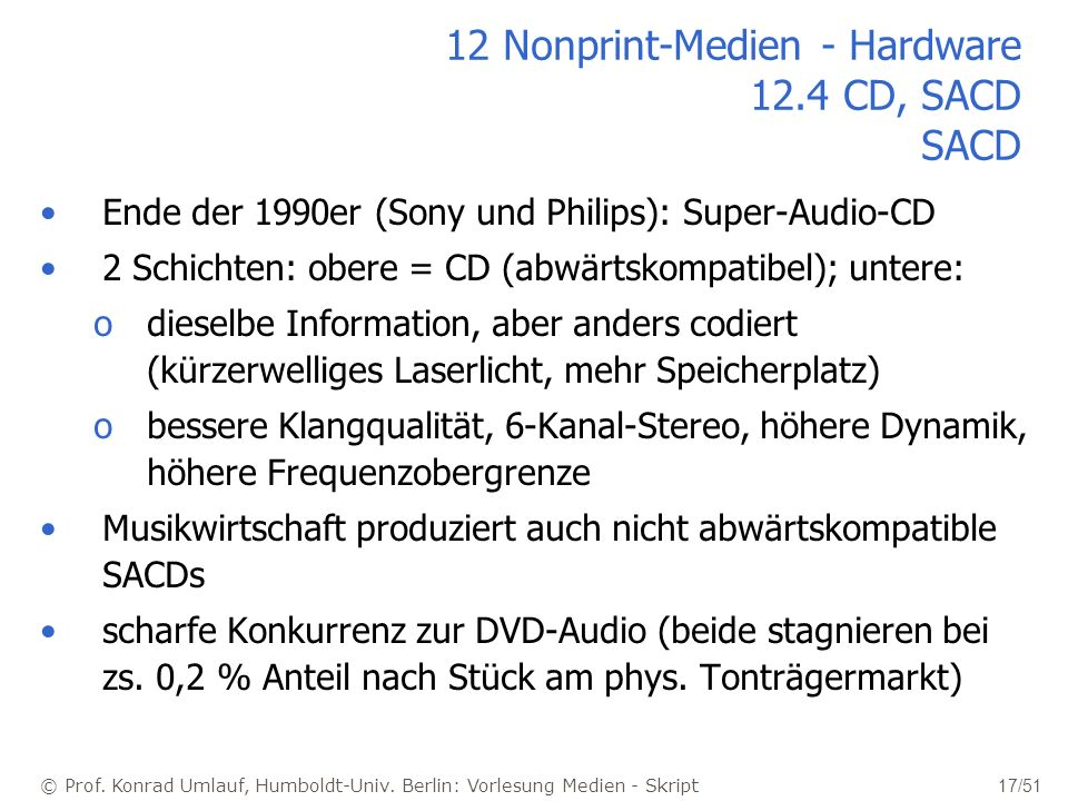 12 Nonprint-Medien - Hardware 12.4 CD, SACD SACD