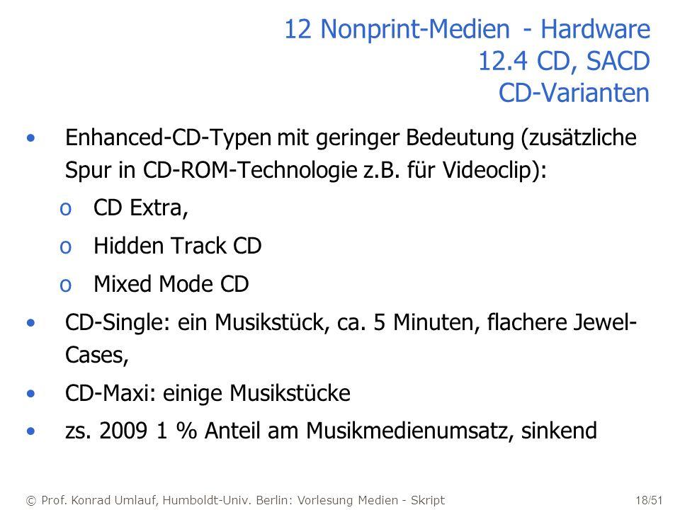 12 Nonprint-Medien - Hardware 12.4 CD, SACD CD-Varianten