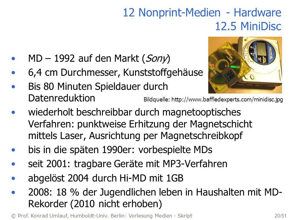 12 Nonprint-Medien - Hardware 12.5 MiniDisc