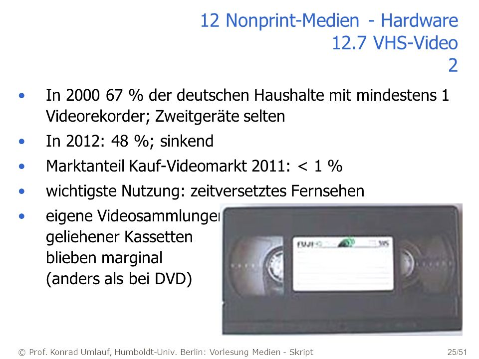 12 Nonprint-Medien - Hardware 12.7 VHS-Video 2