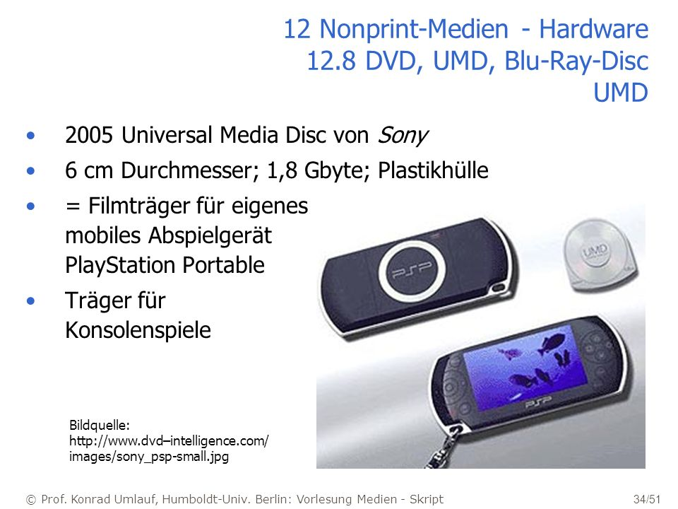 12 Nonprint-Medien - Hardware 12.8 DVD, UMD, Blu-Ray-Disc UMD
