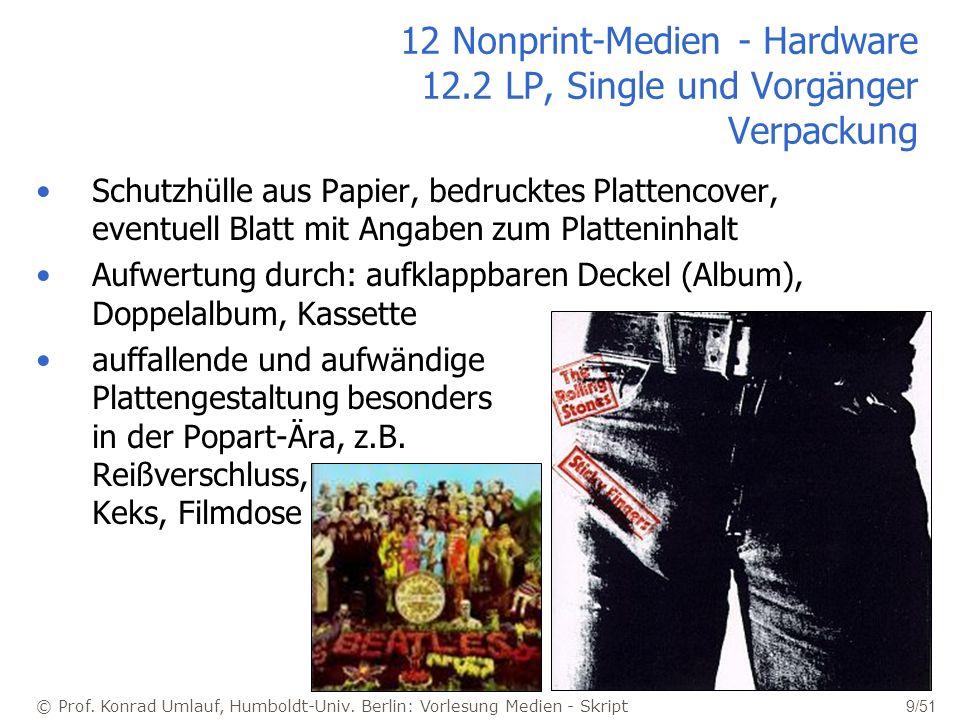 12 Nonprint-Medien - Hardware 12.2 LP, Single und Vorgänger Verpackung