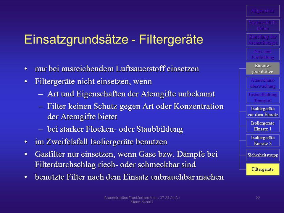 Einsatzgrundsätze - Filtergeräte