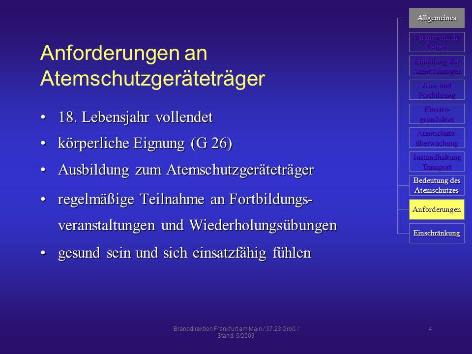 Anforderungen an Atemschutzgeräteträger