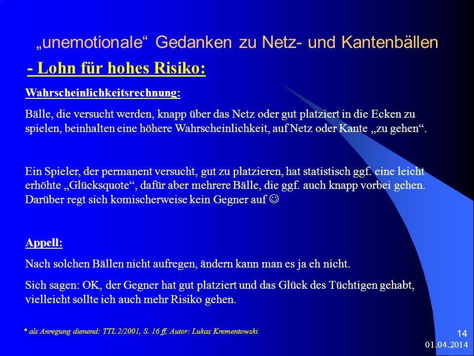"""""""unemotionale Gedanken zu Netz- und Kantenbällen"""