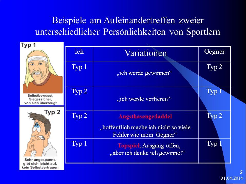 Beispiele am Aufeinandertreffen zweier unterschiedlicher Persönlichkeiten von Sportlern