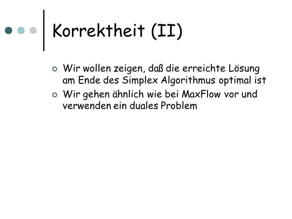 Korrektheit (II) Wir wollen zeigen, daß die erreichte Lösung am Ende des Simplex Algorithmus optimal ist.