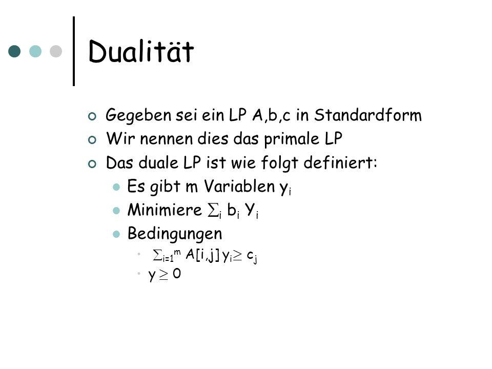 Dualität Gegeben sei ein LP A,b,c in Standardform