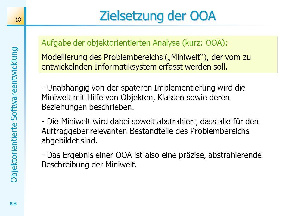 Zielsetzung der OOA Aufgabe der objektorientierten Analyse (kurz: OOA):