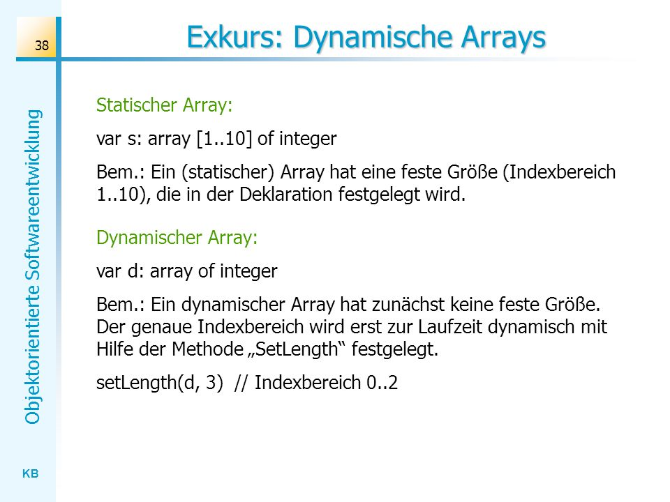 Exkurs: Dynamische Arrays