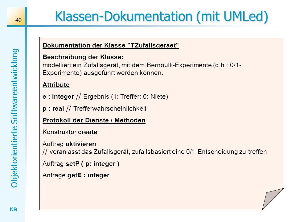 Klassen-Dokumentation (mit UMLed)