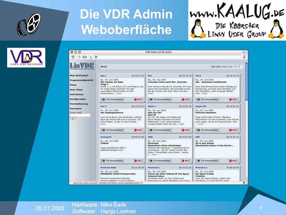 Die VDR Admin Weboberfläche