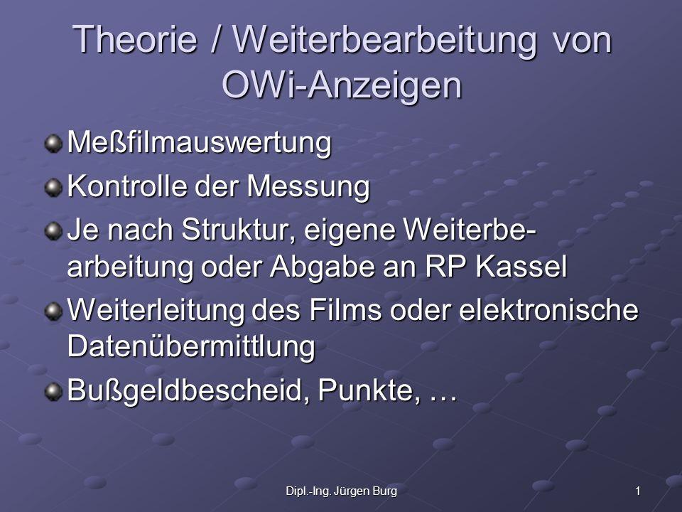 Theorie / Weiterbearbeitung von OWi-Anzeigen