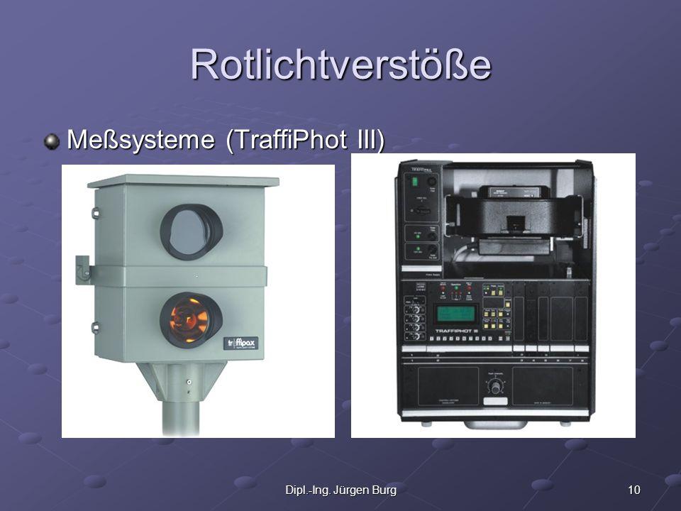 Rotlichtverstöße Meßsysteme (TraffiPhot III) Dipl.-Ing. Jürgen Burg