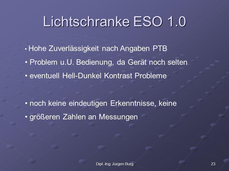 Lichtschranke ESO 1.0 Problem u.U. Bedienung, da Gerät noch selten