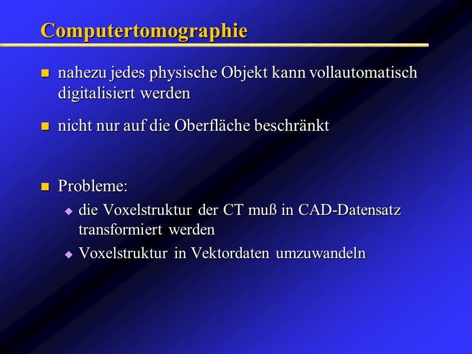 Computertomographie nahezu jedes physische Objekt kann vollautomatisch digitalisiert werden. nicht nur auf die Oberfläche beschränkt.