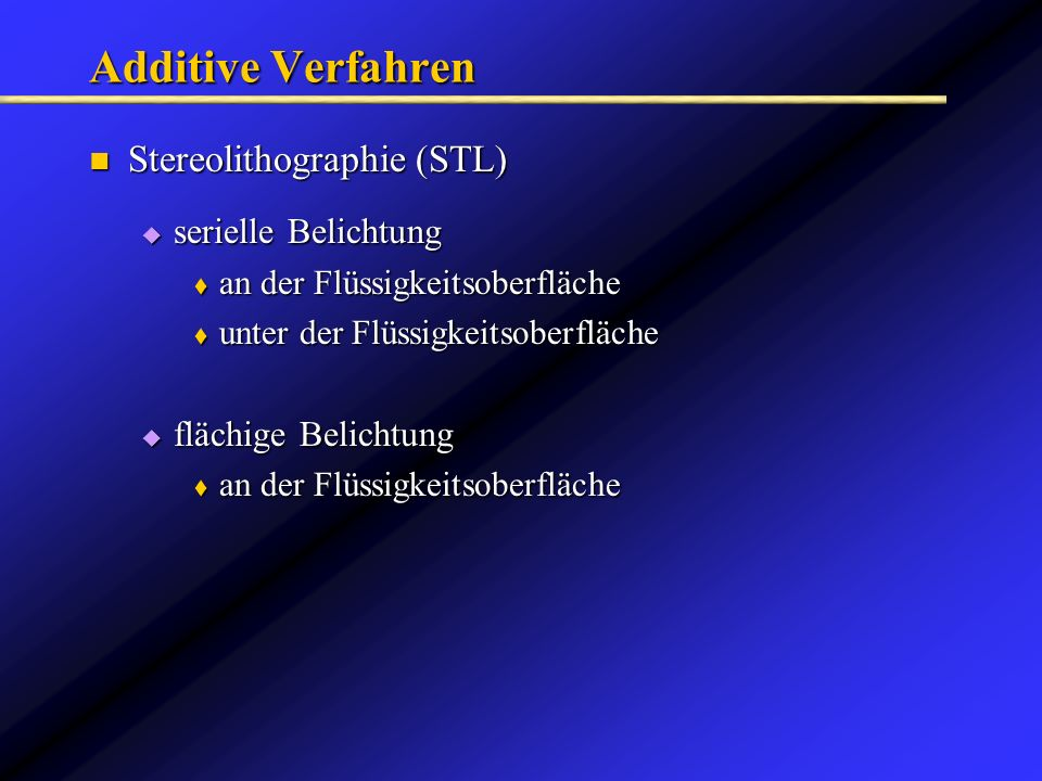Additive Verfahren Stereolithographie (STL) serielle Belichtung
