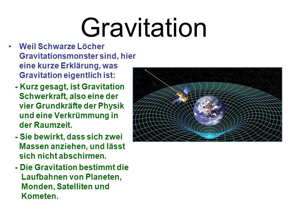 Gravitation Weil Schwarze Löcher Gravitationsmonster sind, hier eine kurze Erklärung, was Gravitation eigentlich ist: