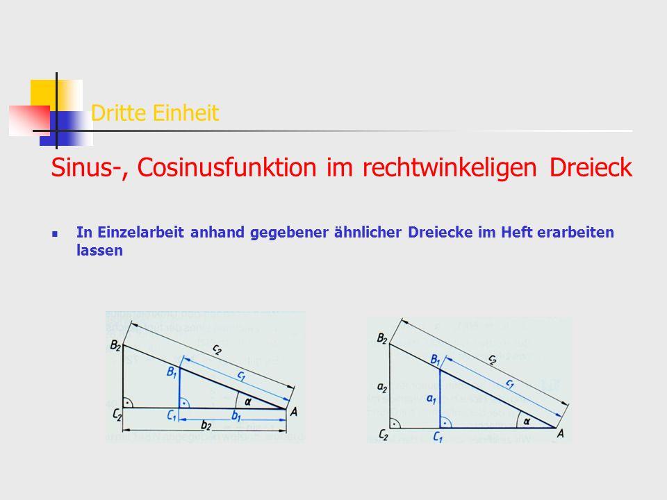 Sinus-, Cosinusfunktion im rechtwinkeligen Dreieck