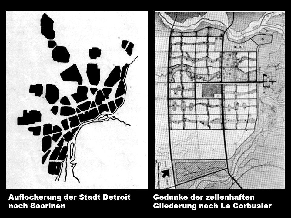 Auflockerung der Stadt Detroit nach Saarinen