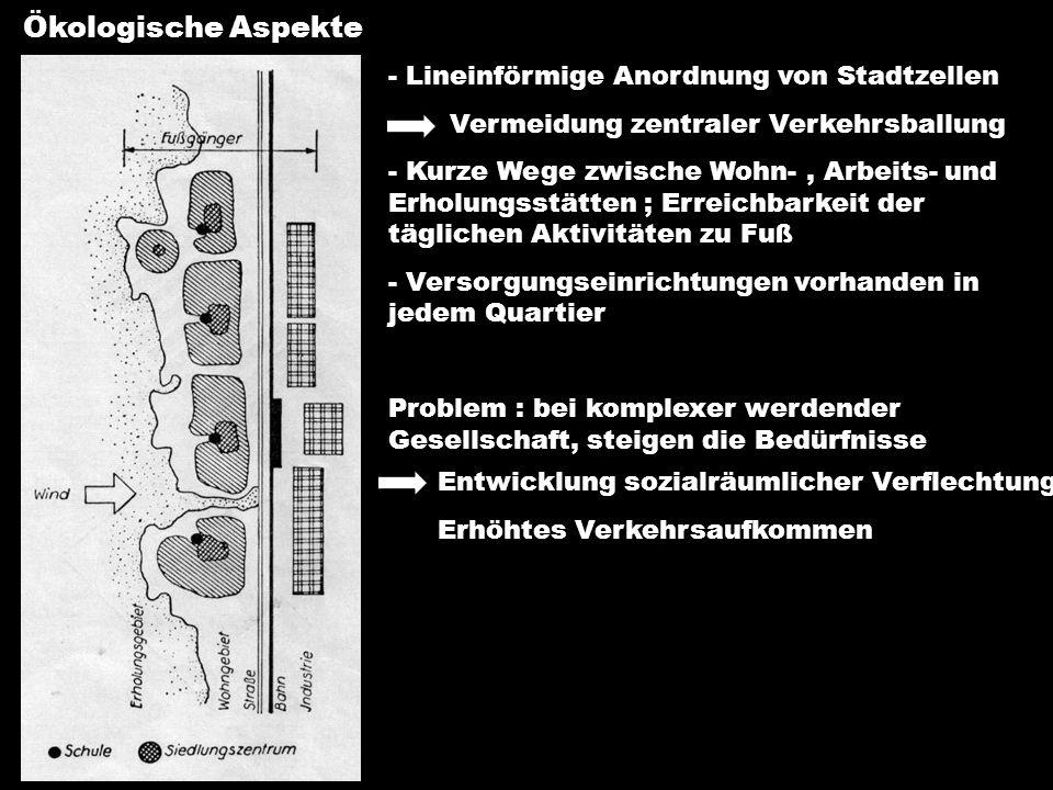 Ökologische Aspekte Lineinförmige Anordnung von Stadtzellen